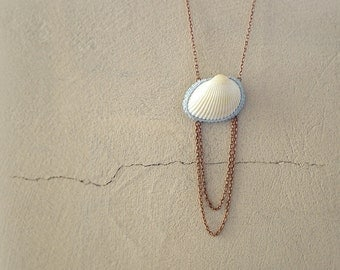 Seashell Necklace, Beach Necklace, Copper Chain Shell Pendant
