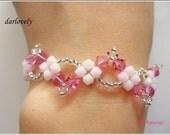 Beaded Bracelet Tutorial Pattern - Swarovski Pink Wavy Bracelet (BB080) - Beading Jewelry PDF Tutorial (Digital Download)