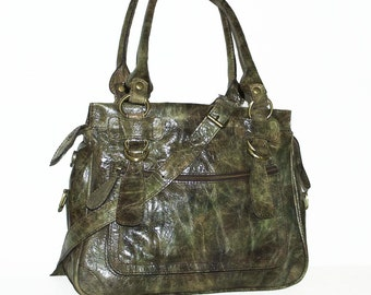 Distressed Leather Bag Rina size M in Vintage Khaki