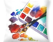 Artist Throw Pillow with Watercolor Painting- Home or Studio Decor Gifts for Artists or Painters Bright Colors Pillow and Cover