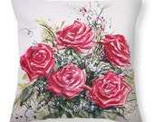 Red RoseThrow Pillow with Watercolor Painting- Home Decor Gifts for Gardeners or Flower lovers Romantic Decoration Pillow and Cover