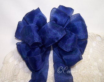 Dark Blue Bow Great for a Wreaths & Wedding Pew Bow Wired Ribbon Summer Seattle Sports Seahawks Mariners Giants Patriots Chargers