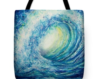 Tote Bag with Sunlit Wave Watercolor Painting- Wearable Art Surfing Gifts Royal Blue Ocean Bright Colors Purse Carryall Beach Bag