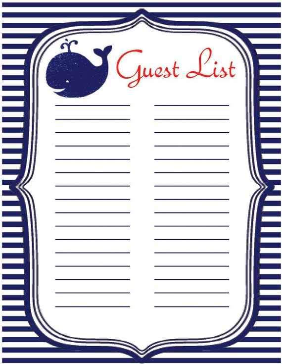Baby Shower Instant Download Guest List Sign-in Sheet