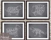 Cow, Pig, Lamb and T-Rex Butcher Diagram Series - Set of 4 Art Prints (Featured in Charcoal) Funny Kitchen Art Prints