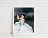 The Flautist / Flutist - 8x10 Illustration Print - Digital Painting of Whimsical Musician Playing Flute in Starry Night