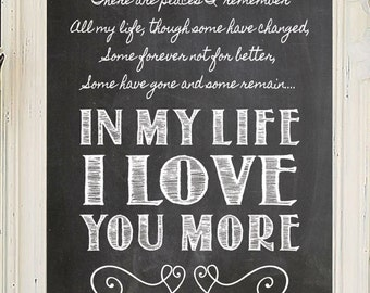 IN MY LIFE Beatles Song Lyric Quote Digital Design Typography Art File - Download & You Print - In My Life I Love You More - The Beatles