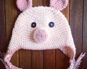 Pig hat, crochet pig hat, pig, baby pig hat, adult pig hat, child pig hat