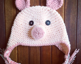 Pig hat, crochet pig hat, pig, baby pig hat, adult pig hat, child pig hat