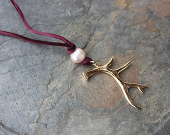 Antler and Pearl necklace - bronze antler pendant with freshwater pearl- free shipping USA- Handmade and nature inspired- woodland, forest