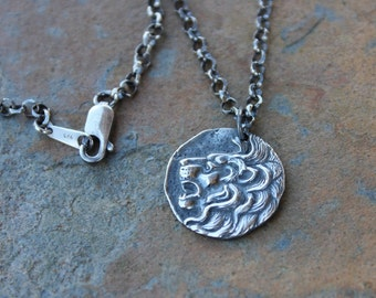 Lions Head Necklace - Ancient Greek replica coin, sterling silver rolo chain- Strength, Courage, Nobility - Women & Men - free shipping USA