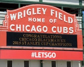 Wrigley Field Marquee Congratulation Chicago Blackhawks 2015 Stanley Cup Champions