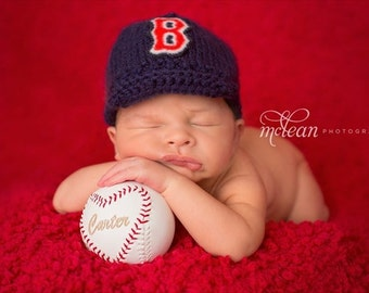 Boston Red Sox Baby Baseball Cap with B Emblem, Red Sox Baby, Handmade Knitted Baby Sports Hat, Size Newborn, Photo Prop