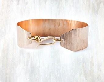 Silver and Bronze Wide Textured Bracelet, Wide Shale bracelet