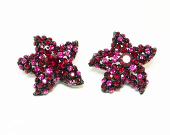 Pink Rhinestone Star Earrings - Black Japanned Clip On Setting - Red Pink and Black - Vintage Jewelry