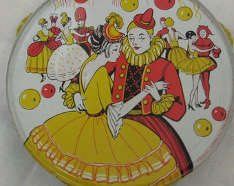 Vintage Kirchhof Tambourine  / Stamped Lithograph Details / Tin Toy / Child's Tin Tambourine / Red and Yellow Kitch Mardi Gras Look Tin Art