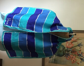 Vera Scarf All Silk Handrolled Shades of Blue Scarves by Vera Made in USA Stripes, Aqua Blue to Royal Silky Scarf
