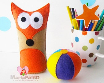 Fox Baby Toy Pattern, Felt Fox Baby + Ball Toy Pattern, Instant Download A1169