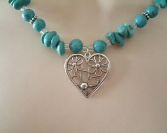 Desert Heart Turquoise Necklace, southwestern jewelry southwest jewelry turquoise jewelry native american jewelry theme western jewelry
