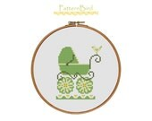 Spring baby (carriage). Instant Download PDF Cross Stitch Pattern