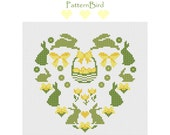 Spring. Easter Heart. Instant Download PDF Cross Stitch Pattern