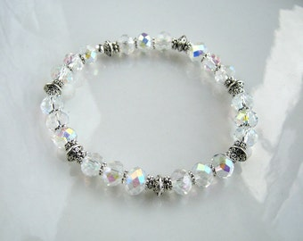 Clear Crystal Stretch Bracelet with Silver Accents Clear Crystal Stacking Bracelet