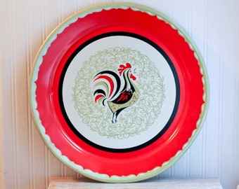Large Red Rooster  Vintage Tray,  Scandinavian Home, Dutch Decor, Farmhouse Decor, Red and Gold, Metal Tray Bold Rustic