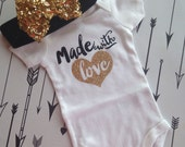 Made with Love Bodysuit Baby Girl Newborn Shirt Glitter Shirt Birth Announcement Bodysuit New Baby Gift Coming Home Outfit Baby Shower Gift