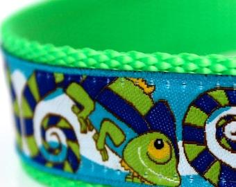 Colorful Chameleon Dog Collar, 1 inch width, Big Dog Collar, Lime Green Pet Collar, Lizard