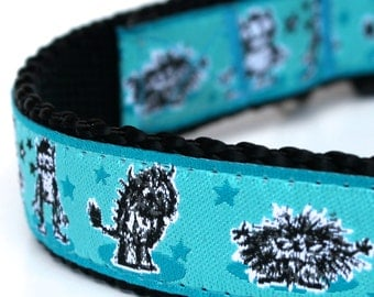 Hairy Monsters Dog Collar, Adjustable Teal Blue Pet Collar, Ribbon