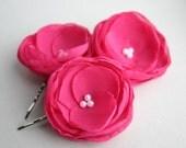 Hot Pink Flowers For Hair, Bridal Hair Accessory, Fuschisa Flower Hair Clips, Bridesmaid Accessory, Flower Girl, Wedding Hair Pieces