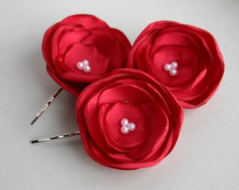 Ruby Red Flower Hair Pieces, Red Flower Hair Clips, Flower Girl Hair Pieces, Bridesmaid Accessory, Bridal Hair Pieces, Floral Hair pins
