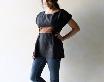 Linen top, linen blouse, black top, black blouse, tunic top, women top, women blouse, short sleeve top, ethnic top, summer top, linen Tshirt