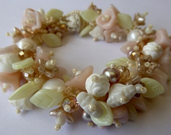 Made To Order   WEDDING Garden Bracelet KIT  in Off Whites, White and Pale Pink with Large White Freshwater Pearls