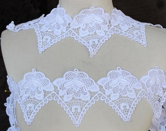 Very cute  white   color    venice  lace  1  yard listing  4 inch wide