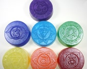 7 Chakra Soaps - mind, body, spirit, energy centers, energy flow, gift soap, party favor, wedding shower, crown, 3rd eye, root, solar, heart