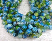 37 pcs 10mm round faceted multi color agate beads