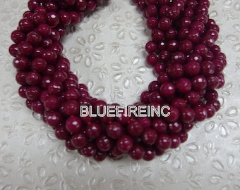 46 pcs beads 8mm round faceted dyed jade in Ruby Red color