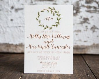 Wedding Invitation, Laurel Wreath Wedding Invitation, Watercolor Wedding Invitation, (Brown) Wedding Suite : A7 Wedding Invitations