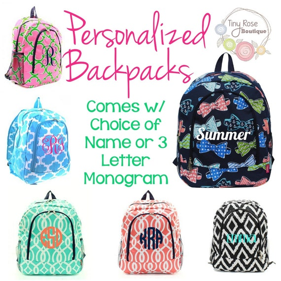 Preppy Personalized Backpacks Monogrammed Back to School Book