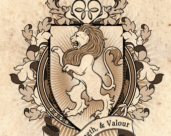 Lion Coat Of Arms Heraldry Art Print