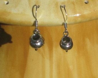 Pewter Cauldron Earrings