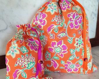 Pretty Simple Drawstring Project Bag Set - Orange & Pink Garden Flowers - orange, pink, green, yellow