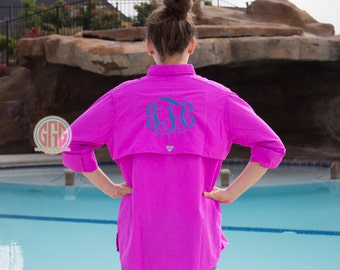 Monogrammed Personalized Womens Columbia Bahama II PFG Fishing Shirt Long-Sleeve