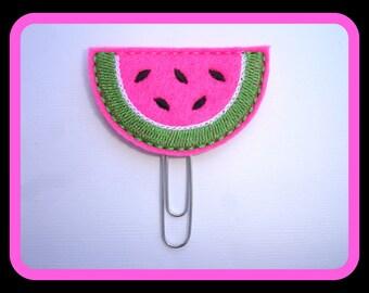Felt planner clip organizer calendar bookmark paper clip - Yummy watermelon slice - bright pink felt paper clip - planner accessories ECLP