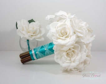 Gardenia Bridal Wedding Bouquet & Boutonniere Set. Cream White Ivory Pink Real Touch Flowers. Greenery