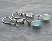 Chalcedony Drop, Moonstones and Sterling Silver Earrings