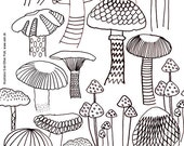 mushroom coloring sheet A4 printable instant download color page forest autumn adult coloring page book by eeliethel