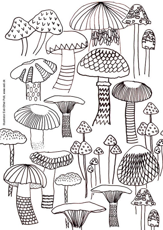 Mushroom Coloring Sheets Nature Mushrooms Instant Printable Download Color Page Gift Forest Autumn Adult US Letter Size
