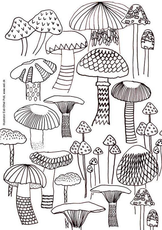mushroom coloring sheets nature mushrooms instant printable